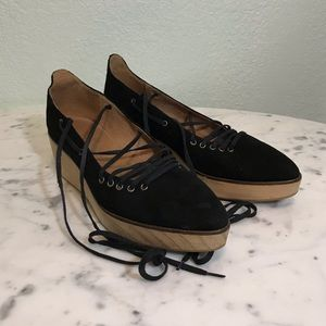 FREE PEOPLE pointed lace up clogs